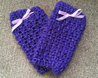 Baby Leg Warmers, Purple with Silver, 0-3 mos