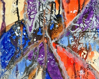 """12 X 12 Abstract Art on Gessobord - """"Believe"""""""