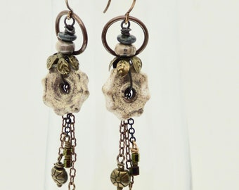Casual Beige Earrings, Handmade Ceramic Earrings, Earthy Earrings, BoHo Rustic Earrings, Statement Earrings, Fashion Accessory, Gift for Her