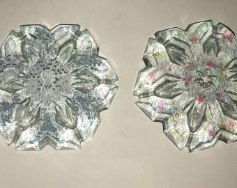Glitter Handmade Resin Snowflake Holiday Ornament- Snowflake ornament with string to hang