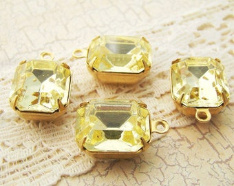 Vintage Swarovski Yellow Jonquil 12x10mm Octagon Faceted Glass Set Stones in Black, Antique Silver or Brass Drop or Connector Settings - 2