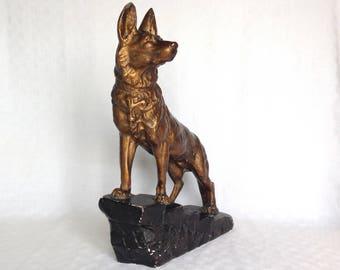 German Shepherd, Dog Figurine, Art Deco Figurine, Dog Lover Gift, Dog Room Decor, Ceramic Dog, Dog Ornament, Vintage Dog Decor, Dog Lover