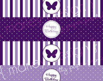 Butterfly Water Bottle Labels Printable Labels Butterfly Party Drink Wrappers Butterfly Birthday Labels Butterfly Wrappers Birthday Decor