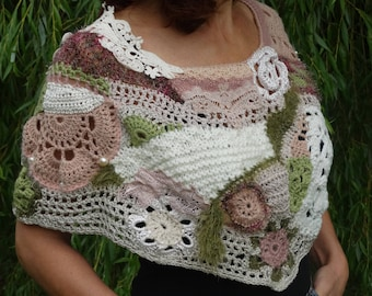 free-form crochetted and knitted shoulder-warmer