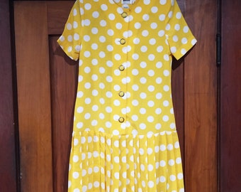 Yellow Polkadot Dress, Vintage Yellow Dress 1980s Drop Waist Dress Short Sleeve 80s Dress Vintage Polka Dot Dress Vintage Dress Sunny Yellow