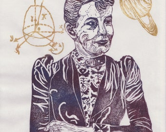 Mathematician Sofia Kovalevski Linocut - History of Science, Math & Literature, Women in STEM, Lino Block Portrait Print Sofia Kovalevski