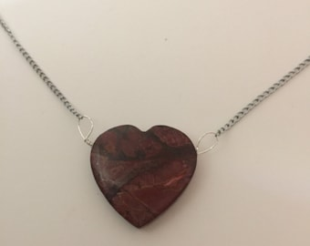 Jasper Gemstone Heart Silver Necklace by oldmanwithers