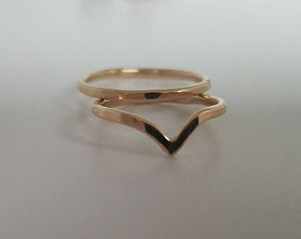 Chevron midi ring set, Sterling silver or 14k gold filled rose gold filled hammered rings band faceted midi rings
