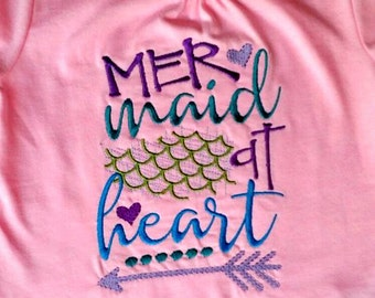 Girl's Embroidered T-shirt  - Mermaid At Heart  - Custom made to order