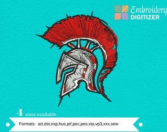 Spartan Warrior Head Embroidery Design