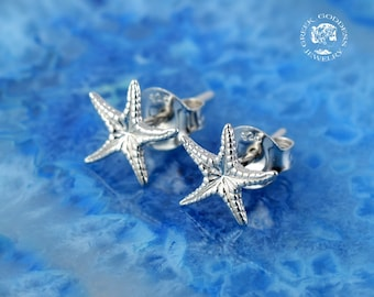 starfish silver stud earrings, starfish earrings, everyday earrings, starfish studs, starfish, greek jewelry, greek, goddess jewelry, greek