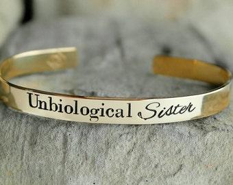 Best Friend Bracelet - Best Friend Gift - Unbiological Sister Gift - Unbiological Sister Bracelet - Custom Cuff Bracelet - Personalized Gift