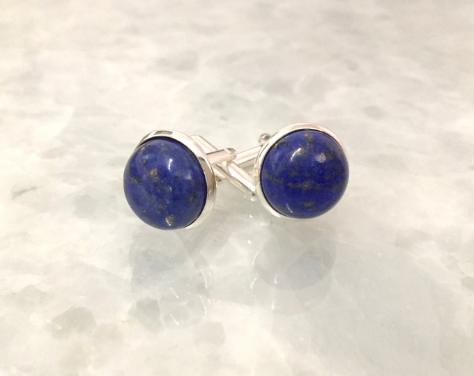 Lapis Cufflinks--Blue Cufflinks--Lapis Lazuli Cufflinks--Lapis Cuff Links--Blue Cuff Links