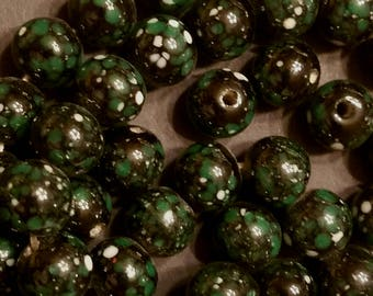 Vintage Japanese Black with Deep Green and White Speckles Glass Beads
