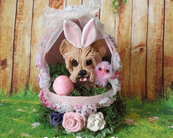 Yorkie Yorkshire Terrier dog in Easter Egg READY to SHIP! One of a Kind hand sculpted by Sally's Bits of Clay