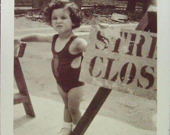 Bathing Suit Bouncer Vintage 1938 Photo Vernacular Snapshot Black and White Snapshot Photograph Vernacular #35-2