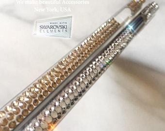 Bling Diamond Beautiful Design Made w/ 100% SWAROVSKI Elements Crystal Case iPhone X 8 7 6S PLUS & Sparkle Crystal Apple Decal Metal Sticker