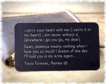 Anniversary Gift For Him ~ Boyfriend Gift ~ Metal Wallet Insert ~ Husband Gift ~ Graduation Gift for Him ~ Mothers Day Gift Wallet Card