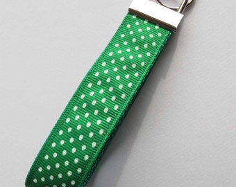 Polka Dot Key Fob, Green and White, Key Chain, Key Holder
