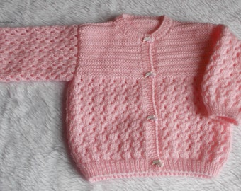Pink buttons baby Dolphin 6 months Cardigan handknitted wool acrylic marietricotine