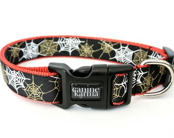 "Sparkly Spider Web Collar - 1"" Adjustable Halloween Dog Collar"
