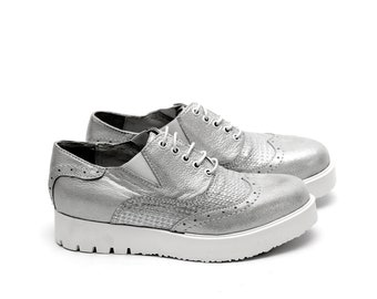 Women Silver Oxford Genuine Leather Shoes by Galdi, 1050-309