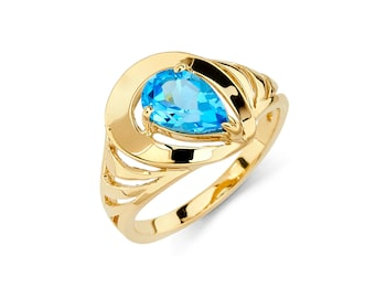 14K Gold Blue Topaz Ring, Blue Topaz Ring, Gold Ring, Fancy Ring, Fancy Jewelry, Blue Topaz Jewelry, Gold Jewelry, Blue Topaz