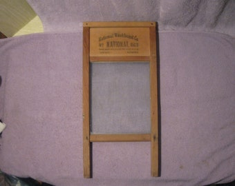 Vintage The Glass King Washboard   National Washboard Co. #863    Vintage Wood and Glass Washboard