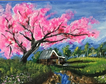 Country side landscape painitng with cherry blossom tree