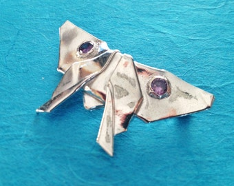 "Silver Origami Butterfly Brooch ""Dolce"", number two in Concerto Series, OOAK"