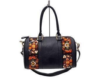 BLACK FLORAL HANDBAG-Genuine leather Women Bag