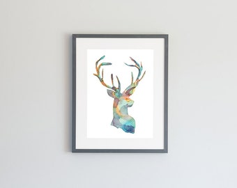 Hand Painted Watercolor Archival Giclée Print - Multi Colored Deer Silhouette