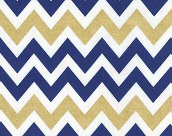 Remix Metallic Chevron by Ann Kelle for Robert Kaufman Fabrics, Metallic Indigo 1/2 yd total