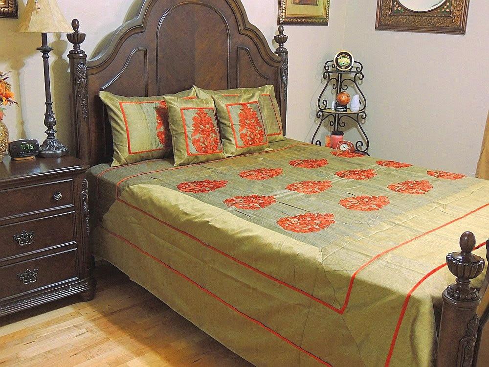 Luxury Bedding Queen Size Floral Embroidered Dupion Art Silk