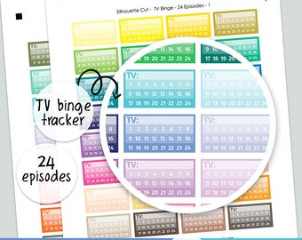 64 TV Binge Trackers 24 Episodes - PRINTABLE silhouette cut file , printable TV shows series sticker planner,  printable planner stickers,