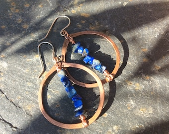Lapis lazuli, Sterling Silver & Copper Hoop Earrings