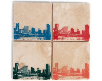 Baltimore Skyline Coaster Set (4 Stone Coasters, Orange, Green, Blue, & Red) Cityscape Home Decor