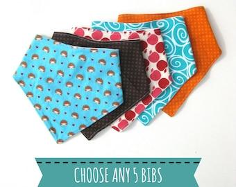 5 Baby Drool Bibs- Baby Shower Gift- New Baby Gift Idea- Baby Bandana Bib Set- Boy Drool Bib- Girl Drool Bib- Baby Bib Set-Drool Bandana Bib