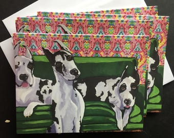 Danes on Green Couch Notecard Set From Original Painting Collage