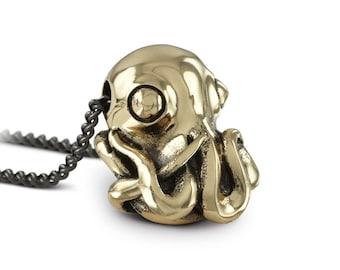Octopus Necklace - Bronze Octopus Pendant - Octopus Jewelry