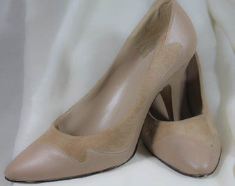 Suede & Leather High Heels Brown Women size 9