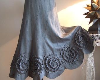 Midi Skirt with rosettes, gray pinstripes skirt, prairie skirt, office skirt, fall autumn skirt, boho skirt, romantic skirt, unique skirt