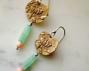 water lily earrings : botanical jewelry - lotus earrings - flower jewelry - bronze, sterling silver - mixed metal jewelry