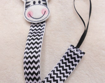 Zebra Feltie Pacifier Clip
