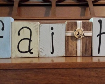 "Decorative Wooden ""FAITH"" Blocks"