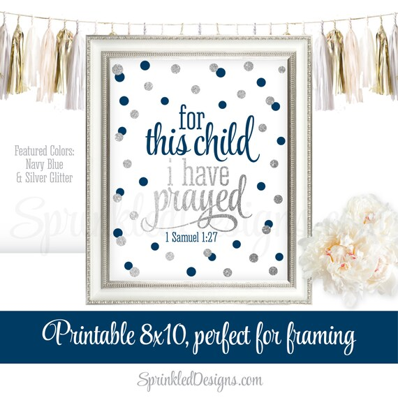 For This Child I Have Prayed Wall Art Printable Sign Baby Boy