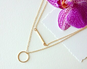 Perfect Gold Necklace Set of 2 Necklaces/ Gold Circle Necklace -Gold Bar Necklace•Layer Necklaces /Gift Ideas -Layering Pieces LPN-24-G-C440