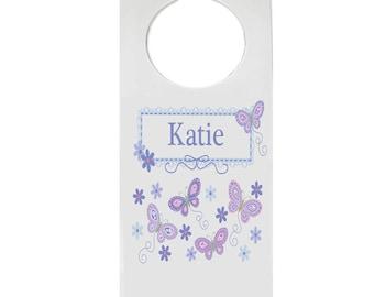 Personalized Door Hanger with Lavender Butterflies Design-hang-300b