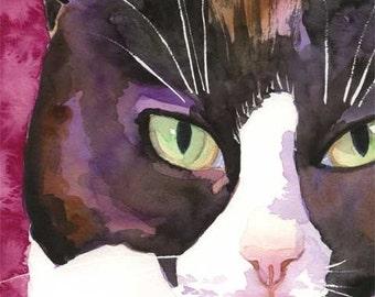 Tuxedo Cat Art Print of Original Watercolor Painting 11x14