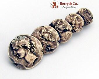 Shiebler Antique Homeric Design Medallion Brooch Pin Sterling Silver 1890